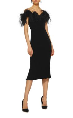 Shop Ostrich Feather Off The Shoulder Velvet Dress. This **Marchesa** cocktail dress features an off the shoulder neckline, an ostrich feather trimmed bustier, and a midi length hemline. Black Velvet Cocktail, Marchesa Fashion, Velvet Fashion, Knee Length Dresses, Dress Skirt, Glamour, Fashion Outfits, Couture, Formal Dresses