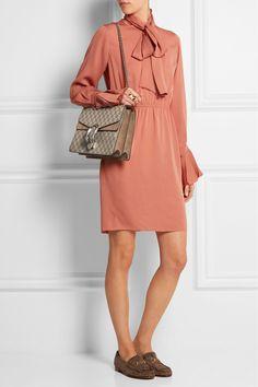 Gucci|Dionysus coated canvas and suede shoulder bag|NET-A-PORTER.COM