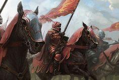 Cavalry Lannisler Game Of Thrones Story, Game Of Thrones Art, Casterly Rock, Jaime Lannister, Fantasy Warrior, Fantasy Battle, Medieval Art, Medieval Fantasy, High Fantasy
