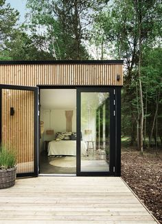 From the bedroom there is direct access to the big terrace. Courtyard House, Facade House, House Extension Design, House Design, Tiny House Exterior, Space Interiors, Garden Studio, House Extensions, Minimalist Home