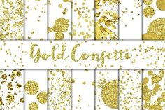 Gold Confetti Overlays/Backgrounds by Alaina Jensen on Creative Market