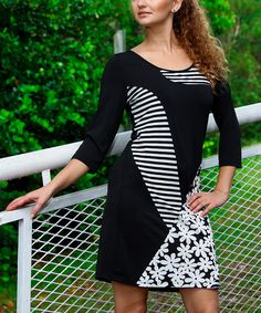 Look at this La Moda Clothing Black & White Daisy Stripe Shift Dress on #zulily today!