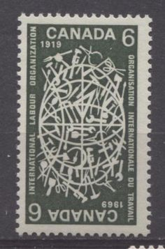 The 1969 International Labour Organization issue. Note that the design of this stamp is such that it can be either horizontal or vertical. Vintage Images, Postage Stamps, Art Lessons, Olive Green, Globe, Arts And Crafts, Graphic Design, Cool Stuff, Dark