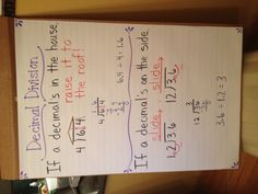 Decimal division anchor chart - but change the order of the 2 steps