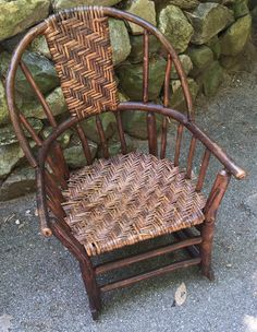 Rare Old Hickory Windsor style rocker, rattan woven, all original Available, Christibys