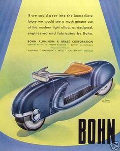 1947 Vintage Print Ad Bohn Aluminum Brass Corp Futuristic Motorcycle Design   eBay