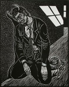Touching Bottom  2002, linocut by Artemio Rodriguez