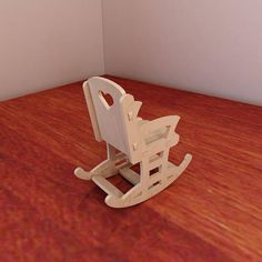 Beautiful Barbie doll rocking chair. Pattern vector model for CNC router and laser cutting. Plywood 3mm/4mm/5mm/6mm. Wooden homemade rocking chair. 1:6 scale.