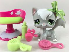 Littlest Pet Shop RARE Gray/Whtie Angora Cat #954 w/Beauty Chair & Accessories #Hasbro