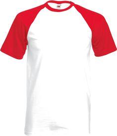 kurzärmeliges Baseball T-Shirt White/Red-M
