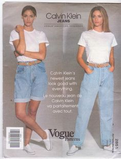 Great Free of Charge 1991 Vogue 2851 Calvin Klein Jeans sz-small sewing pattern Suggestions I really like Jeans ! And much more I want to sew my own Jeans. Next Jeans Sew Along I'm going t Fashion Guys, 80s And 90s Fashion, Denim Fashion, Retro Fashion, Vintage Fashion, Fashion Outfits, Fashion Advice, Trendy Fashion, Style Fashion