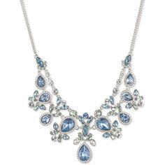 Givenchy Chambers  Crystal Bib Necklace ($78) ❤ liked on Polyvore featuring jewelry, necklaces, blue, blue pendant, pendant necklace, crystal bib necklace, blue crystal necklace and crystal pendant