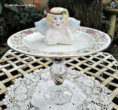Cherub Petit Fours Pedestal Whimsy  / by GardenWhimsiesByMary