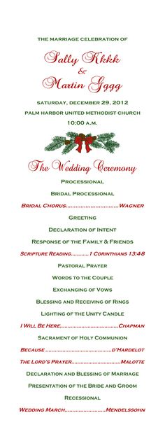 Wedding Day Extras: Christmas Wedding Program front