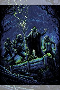 'Monster Squad' by Dan Mumford Monster Squad, Monster Art, Dan Mumford, Horror Artwork, Horror Monsters, Horror Icons, Famous Monsters, Pop Culture Art, Best Horrors