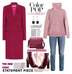 """""""Go Bold and Casual - Statement Coats"""" by ellie366 on Polyvore featuring Givenchy, Levi's, Apiece Apart, Celestine, MANGO, FOSSIL, casual, patentleather, colorpop and turtleneck"""