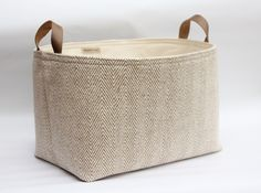Fabric Storage Basket Herringbone Woven Cotton Leather Handles - Cream and Taupe Beige - Rustic Decor - Nursery Storage - UK by RaggedHome on Etsy https://www.etsy.com/listing/218723028/fabric-storage-basket-herringbone-woven