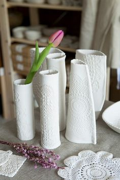 Pottery Ideas with lace print. These just need a little color