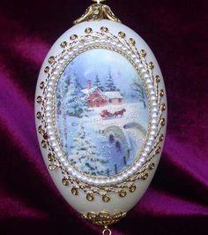 Wintery Christmas Silk Print Goose Egg Ornament by MarcellasCorner, $19.95