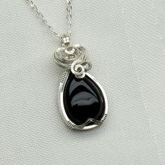 Black Onyx Necklace  Blak Onyx Jewelry  Wire Wrapped  by StoneNest, $45.00