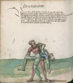 Title: Goliath (MS Germ.Quart.2020), Page: Folio 120v, Date: 1510-1520 Medieval Knight, Medieval Art, Bushcraft, Catholic Tattoos, Historical European Martial Arts, Fight Techniques, Self Defense Martial Arts, Medieval Paintings, Early Modern Period
