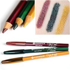 """hi beauties, the new """"come to town"""" eye pencils have a wonderfully soft mine that glides along your lashline for cool eyeliner looks with an ultra-metallic finish. now you can give your eye make-up a christmassy touch in gold, green and red!  which color is your favorite?  a. red b. green c. gold  #essence #cosmetics #eyes #eyeliner #kajal #eyes #christmas"""