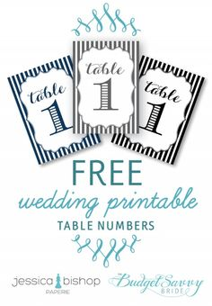 Free Wedding Table Numbers Printable photo | The Budget Savvy Bride