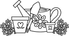 Garden Watering Can And Flower Pot Coloring Pages : Color Luna Garden Coloring Pages, Free Coloring Pages, Coloring Books, Flower Vases, Flower Pots, Flowers, Star Wars Colors, Halloween Coloring Pages, Quilt Labels