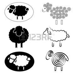 zwarte silhouetten van schapen op een witte achtergrond Stockfoto