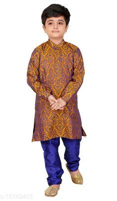 Kurta Sets Vesh Cotton Kurta Pajama Set for Boys Kids Top Fabric: Cotton Bottom Fabric: Dupion Silk Sleeve Length: Long Sleeves Bottom Type: pyjamas Top Pattern: Embellished Multipack: 1 Sizes:  4-5 Years (Top Bust Size: 26 in, Top Length Size: 24 in, Bottom Waist Size: 22 in, Bottom Length Size: 22 in)  5-6 Years (Top Bust Size: 27 in, Top Length Size: 26 in, Bottom Waist Size: 23 in, Bottom Length Size: 23 in)  3-4 Years (Top Bust Size: 25 in, Top Length Size: 22 in, Bottom Waist Size: 22 in, Bottom Length Size: 21 in)  8-9 Years (Top Bust Size: 32 in, Top Length Size: 32 in, Bottom Waist Size: 28 in, Bottom Length Size: 28 in)  6-7 Years (Top Bust Size: 28 in, Top Length Size: 28 in, Bottom Waist Size: 24 in, Bottom Length Size: 24 in)  7-8 Years (Top Bust Size: 30 in, Top Length Size: 30 in, Bottom Waist Size: 26 in, Bottom Length Size: 26 in)  9-10 Years (Top Bust Size: 34 in, Top Length Size: 34 in, Bottom Waist Size: 30 in, Bottom Length Size: 30 in)  2-3 Years (Top Bust Size: 24 in, Top Length Size: 20 in, Bottom Waist Size: 22 in, Bottom Length Size: 20 in)  Country of Origin: India Sizes Available: 2-3 Years, 3-4 Years, 4-5 Years, 5-6 Years, 6-7 Years, 7-8 Years, 8-9 Years, 9-10 Years   Catalog Rating: ★4 (813)  Catalog Name: Pretty Funky Kids Boys Kurta Sets CatalogID_3209445 C58-SC1170 Code: 313-16142413-057