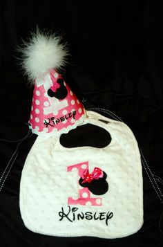 1st Birthday girl Bib and Birthday Hat Combo by sunshinedaydream4u