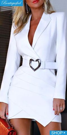 Notched Collar Padded Shoulder Ruched Blazer Dress Shop- Women's Best Online Shopping - Offering Huge Discounts on Dresses, Lingerie , Jumpsuits , Swimwear, Tops and More. Online Fashion, Fashion Apps, Women's Fashion, Jeans Fashion, Fashion Today, Cheap Fashion, Fashion Boots, Fashion Women, Latest Fashion