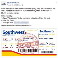 More Southwest Air Ticket Giveaway Scams Appearing on Facebook