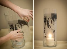 I could see doing this with lots of different size cylinders for a centerpiece  photo-transfer-glass-cylinder-tutorial