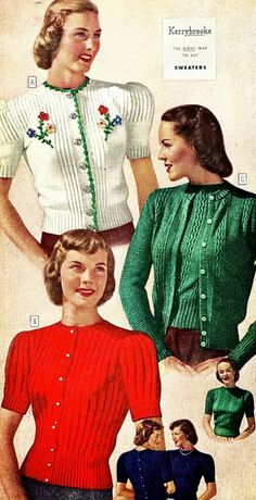 Sears and Roebuck catalog in 1948 sweaters green red cardigan short sleeve long floral embroidered button down 40s 50s color illustration print ad