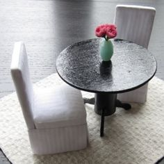 Create a 1/12 scale pedestal table for only $0.80! Chic addition to your dollhouse. 7 step full photo tutorial.