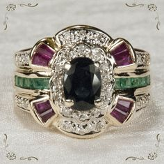 Precious Ruby Sapphire Emerald Diamond 14k Gold Ring from Tanya's Treasures at RubyLane.com