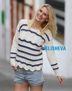 Легкий пуловер с узором павлинье перо от DROPS Design, вязаный спицами