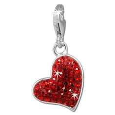 SilberDream Glitter Charm heart with red Czech crystals, 925 Sterling Silver Charms Pendant with Lobster Clasp for Charms Bracelet, Necklace or Earring GSC543R