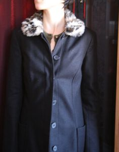 676522b8ac14 Items similar to FREE shipping - french Small sexy balck wool long coat  with fur imitation collar panther leopard S XS on Etsy