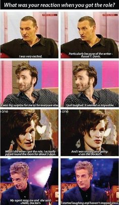 First reactions of Chris, David, Matt and Peter on hearing they'd been chosen to be The Doctor