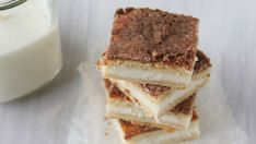Inspired by the popular Mexican pastry, these cinnamon sugar cheesecake bars—with their sweet cream cheese filling, crunchy-sweet topping and flaky crescent crust—are dangerously good, and dangerously easy to make. Don't say we didn't warn you!