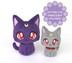 Digital machine embroidery pattern bundle & instructions to make cute kawaii Sailor Moon Kitty cat plush toys in 2 sizes with machine embroidery and some sewing. Perfect for holiday gifts! Materials, finished product are not included. Skill level: Beginner and up  Embroider your own precious, handheld-size Moon Kitty stuffed animals FAST with my detailed photo tutorial! Sewing with my patterns is stress-free; my customers say that my patterns are so easy to understand, that its like takin...
