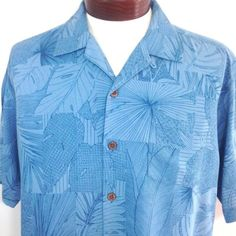 Tommy-Bahama-Hawaiian-Shirt-Large-Mens-HIDEAWAY-MAZE-Blue-Floral-Silk-T34175
