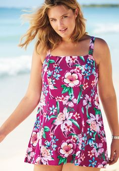 Heading to the beach, pool or lake? Don't forget this feminine and flattering plus size suit will make you feel confident, comfortable and relaxed.  printed pattern is slenderizing and enhances your figure style supports bust, controls tummy and waist & flatters every body type square neckline offers support and is comfortable, thick straps are never tight high back for comfort and proper coverage comfy attached panty brief soft foam cups, powernet tummy control panel,...