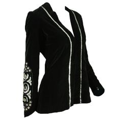 1970's Thea Porter Velvet Jacket with Sleeve Embellishment   From a collection of rare vintage jackets at http://www.1stdibs.com/fashion/clothing/jackets/