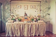 Like the different heights and props used on this table
