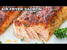 Air Fryer Salmon - Simply Home Cooked Best Salmon Recipe, Grilled Salmon Recipes, Baked Salmon, Fish Recipes, Seafood Recipes, Seafood Meals, Ninja Recipes, Air Fryer Oven Recipes, Healthy Recipes