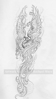 A third sketch of Jeanette's phoenix design, this time with the wings upraised. I'm digging the vertical design now, so we'll see what Jeanette thinks. Phoenix sketch for Jeanette 03 Et Tattoo, Tattoo Drawings, Body Art Tattoos, Sleeve Tattoos, Phoenix Tattoo Sleeve, Tattoo Quotes, Wing Tattoos, Tattoo Thigh, Tatoos