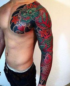 Japanese koi and dragon tattoo sleeve by @goshu34. #underratedink #japanesetattoo #irezumi #tebori #colortattoo #colorfultattoo #cooltattoo #armtattoo #chesttattoo #largetattoo #tattoosleeve #dragontattoo #fishtattoo #koitattoo #naturetattoo @japanesecollective @japanesetattoo @reclaimthedots @bestirezumi